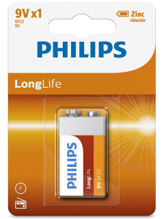 Philips baterie LONG LIFE 1ks (6F22L1B/10, 9V)