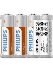 Philips baterie LONG LIFE 4ks (R6L4F/10, AA, 1,5V)