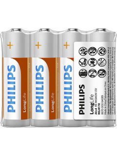 Philips baterie LONG LIFE 4ks (R6L4F/10, AA, 1,5V)