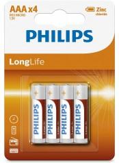 Philips baterie LONG LIFE 4ks (R3L4B/10, AAA, 1,5V)
