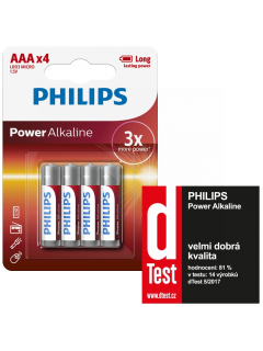 Philips baterie POWER ALKALINE 4ks blistr (LR03P4B/10, AAA, 1,5V)