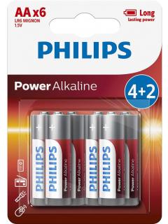 Philips baterie POWER ALKALINE 4+2ks blistr (LR6P6BP/10, AA, 1,5V)